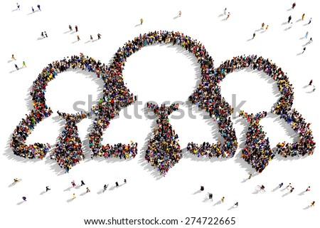 Large group of people seen from above gathered together in the shape of employees symbol - stock photo