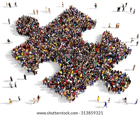Large group of people seen from above gathered together in the shape of piece of puzzle - stock photo