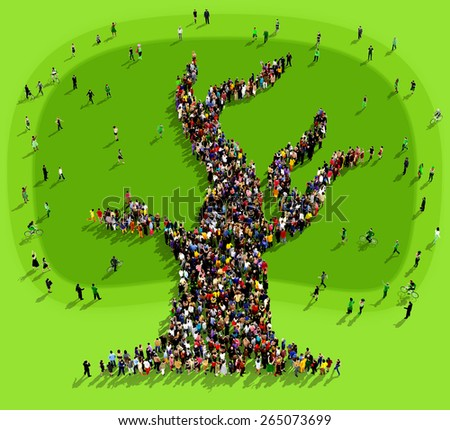 Large group of people seen from above gathered together on a green background to form the shape of a tree - stock photo