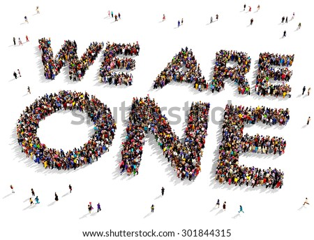 "Large group of people seen from above gathered together to form the text ""WE ARE ONE"" on a white background - stock photo"