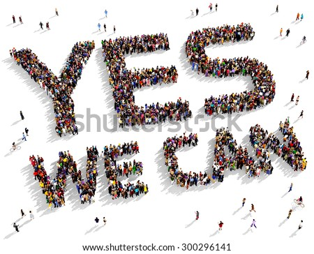 """Large group of people seen from above gathered together to form the text """"YES WE CAN"""" on a white background - stock photo"""