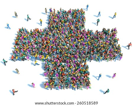 Large group of people standing in the shape of a cross - stock photo