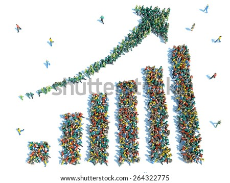 large group of people stood in the form of graph - stock photo