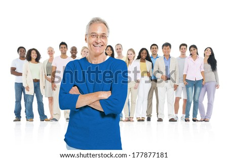 Large Group of People with One Old Man - stock photo