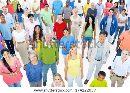 Large Group of People Working - stock photo