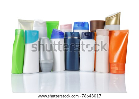 large group of product packaging. isolated over white background - stock photo