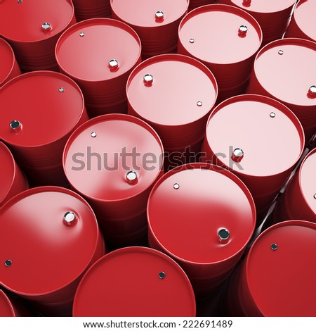 Large group of red oil barrels. High resolution. - stock photo