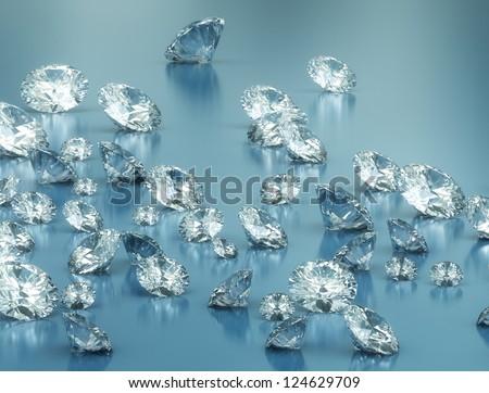 Large group of shiny diamonds - stock photo