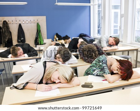 Large Group of Sleeping students - stock photo