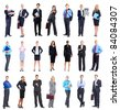 Large group of smiling business people. Isolated over white. - stock photo