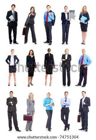 Large group of smiling business people. Isolated over white background. - stock photo