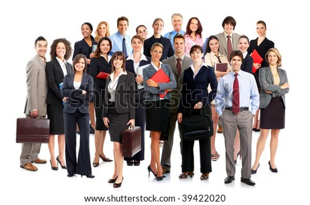 Large group of smiling business people. Over white background - stock photo