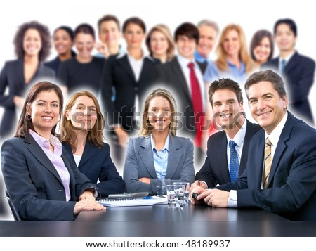Large group of smiling business people team - stock photo