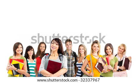 Large group of smiling  students. Over white background - stock photo