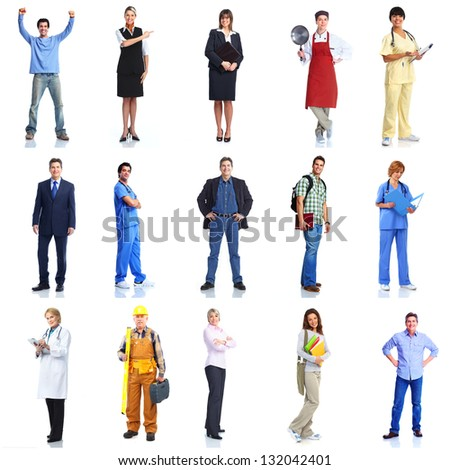 Large group of smiling workers people. Doctor, contractor, painter, businessman, nurse