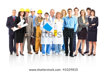 Large group of smiling workers people. Over white background