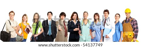 Large group of smiling workers people. Over white background - stock photo