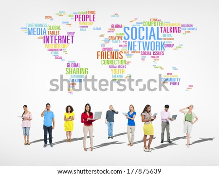Large Group of Social Networking People - stock photo