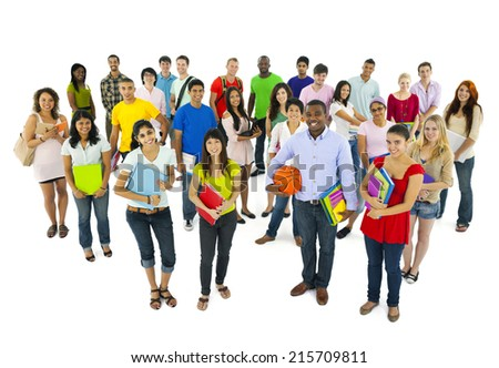 Large Group of Student Going to School - stock photo