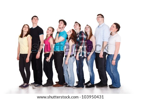 Large group of teenager thinking to the same thing with thought bubble with copy space - stock photo
