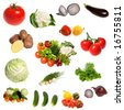 Large group of vegetables isolated on the white background - stock photo