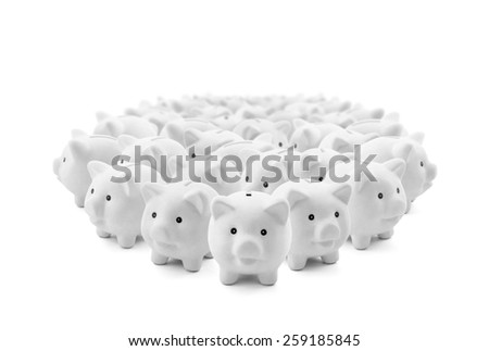 Large group of white piggy banks - stock photo