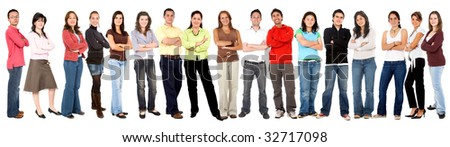 Large group of young casual people isolated over white - stock photo