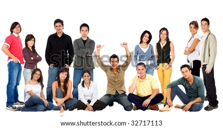 Large group of young casual people isolated over white