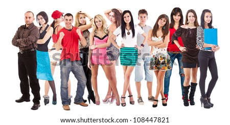 Large group of young people isolated over white