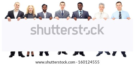 Large group of young smiling business people. Over white background - stock photo