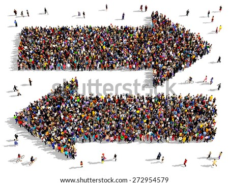 Large groups of people seen from the top gathered together in the shape of two arrows pointing towards right and left - stock photo