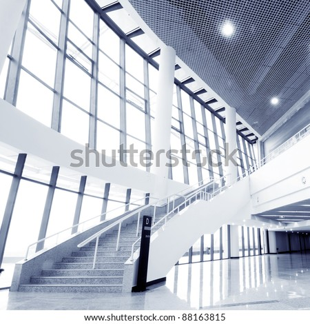 Large hall of modern industrial building - stock photo