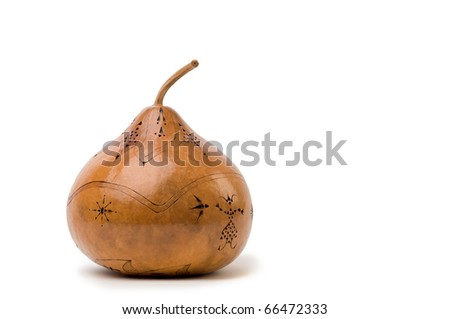 Large hand carved artistic gourd isolated on white background - stock photo