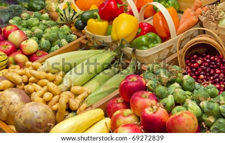 large harvest of fruits and vegetables - stock photo