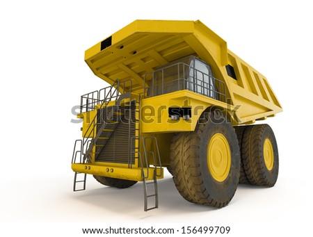 Large haul truck isolated on white background - stock photo