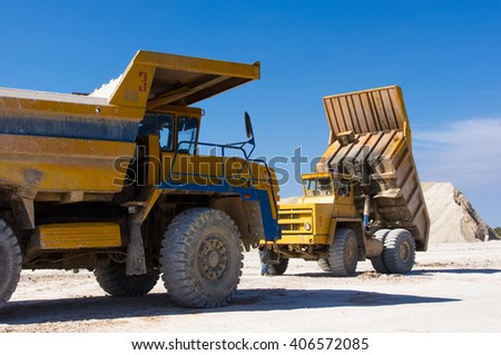 Large haul truck ready for big job in a mine - stock photo