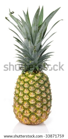 Large Hawaiian pineapple on white background