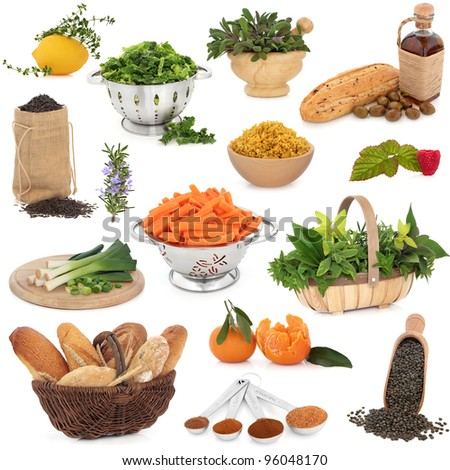 Large healthy food collection high in antioxidants and vitamins over white background. - stock photo
