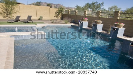 Large home back yard swimming pool