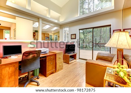 Large home office interior. - stock photo