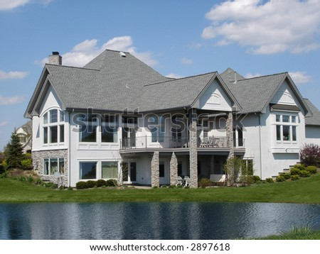 Large Home on Water - stock photo