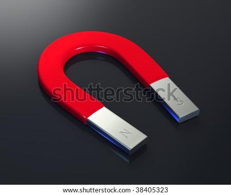 Large horseshoe magnet over a shiny black background. - stock photo