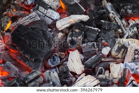 large hot charcoal after fire - stock photo