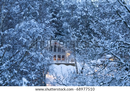 Large house in a snowy forest - stock photo