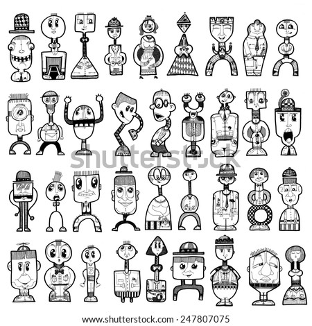 LARGE illustration funny shape people, cartoon characters, simple shapes, big eyes, smile, happy, funky - stock photo