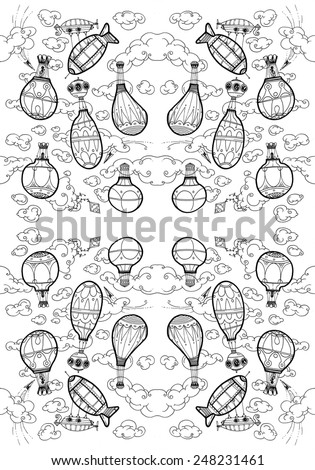 LARGE illustration hot air balloons in the sky, clouds, flying, serene, flying machines - pattern A