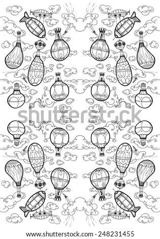 LARGE illustration hot air balloons in the sky, clouds, flying, serene, flying machines - pattern B