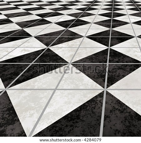 large image of checkered marble floor going off into the distance - stock photo