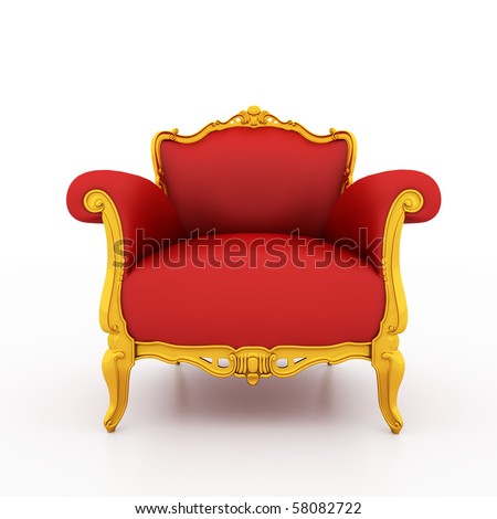 Large image Resolution of Classic glossy red armchair with golden details, isolated on a white background - stock photo