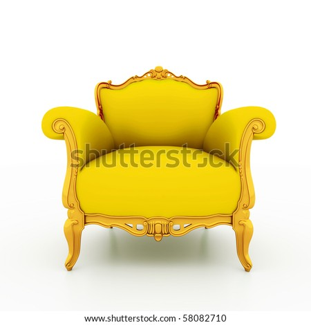 Large image Resolution of Classic glossy yellow armchair with golden details, isolated on a white background